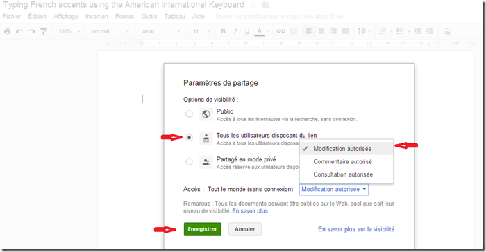 Google doc sharing settings