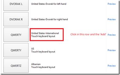 International Keyboard option